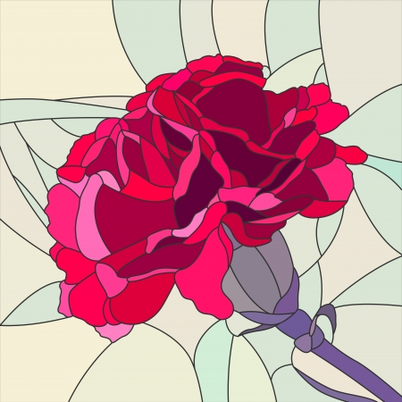 mosaic with large cells of brightly red carnation on pale green  Illustration