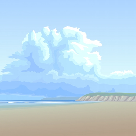 beach panorama: illustration background  big cloud in blue sky over the lonely long sandy coast with the steep bank on the horizon