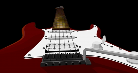 illustration of horizontal background with red electric guitar at an acute angle  Vector