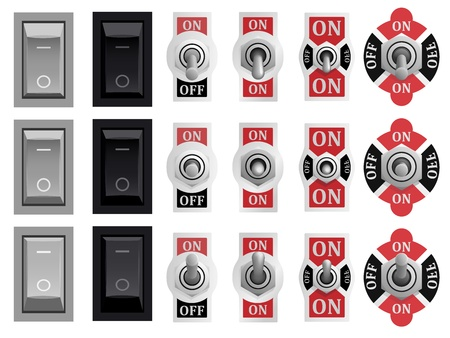 Set of toggle and tumbler switches in different positions  switched off, on and middle   Stock Vector - 15800671
