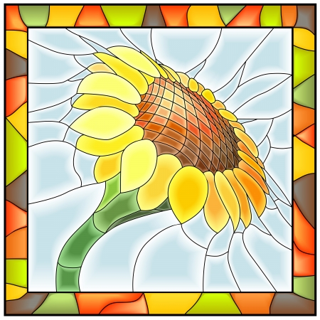 illustration of flower sunflower in stained-glass window with frame  Vector