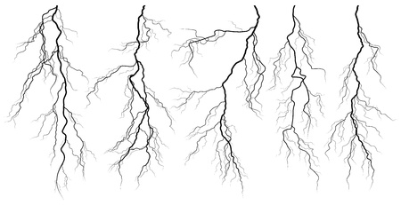 Set of silhouettes of thunderstorm lightning isolated on white