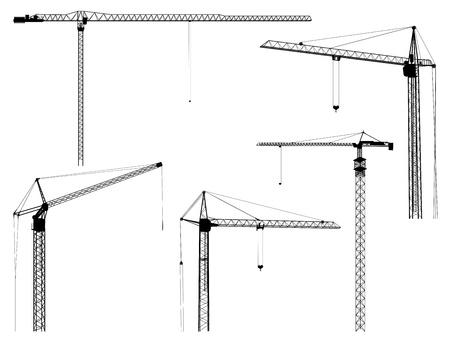 bouwkraan: Set van silhouetten van bouwkraan toren, geïsoleerd op wit
