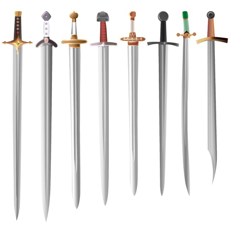 Set of medieval swords with different hilts   Ilustrace