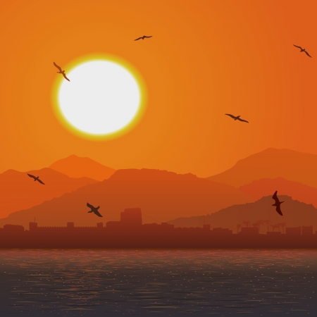 birds in flight: Vector illustration background of flying birds against hot sun and castle on coast in orange tone