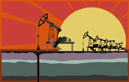oil exploration: Oil pumping unit against sunset, with cut of soil (Vector illustration).