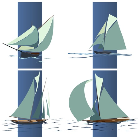 moor: Simple vector set of ships with sails and waves elements in blue box.