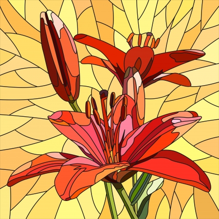 bloom: mosaic with large cells of brightly red lilies with buds on yellow. Illustration