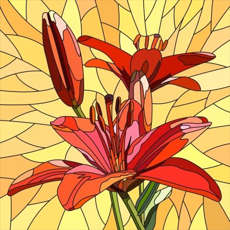 lilie: Mosaik mit gro�en Zellen leuchtend roten Lilien mit Knospen auf gelb. Illustration