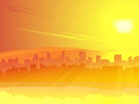 landscape architecture: Vector background: city of skyscrapers on coast against sunrise with rays(maybe sunset).