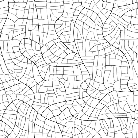 craquelure: Vector seamless silhouette smooth craquelure (cracked paint coat over time) background, isolated on white. Illustration