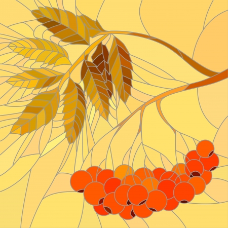 mosaic with large cells of rowan branch with red berries and leaves in autumn on yellow background. Stock Vector - 16006794