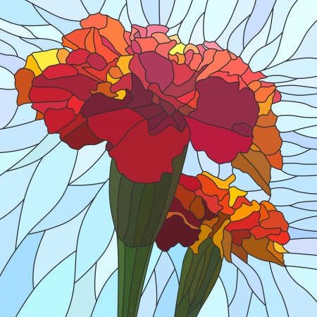 marigold: mosaic with large cells of brightly red marigold (Tagetes) on light blue.
