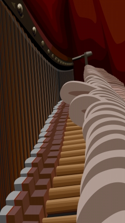 entrails: Vector illustration of piano interiors with strings and hammers.