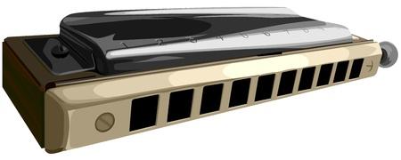 chromatique: Vector illustration de l'harmonica chromatique avec des trous cornes dix.