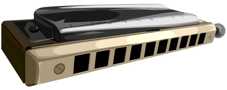 harmonica: Vector illustration of chromatic harmonica with ten horns holes. Illustration