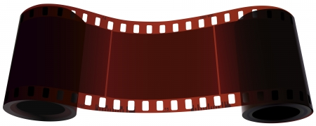 expose: Vector realistic scroll of two coils of one film with empty frame in the middle. Illustration