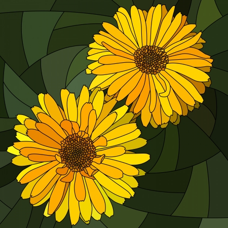 mosaic with large cells of brightly yellow calendula (pot marigold) on dark green.