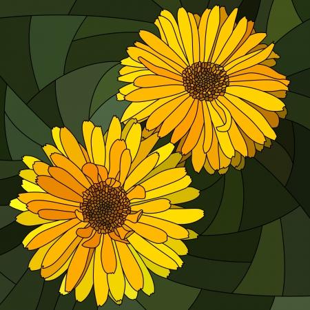 cempasuchil: mosaico con c�lulas grandes de calendula amarillo brillante (cal�ndula) en verde oscuro. Vectores