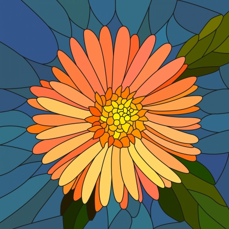 aster: mosaic with large cells of brightly orange aster on dark blue.