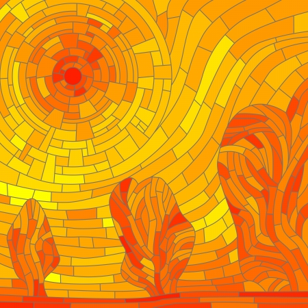 glass window: Vector mosaic illustration background: abstract red sun with trees in yellow tone.