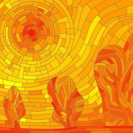 Vector mozaïek illustratie achtergrond: abstracte rode zon met bomen in gele toon. Stockfoto - 16006830