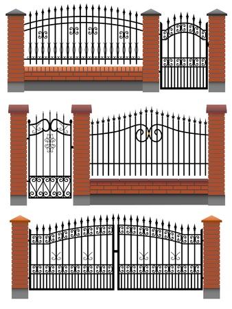 Vecteur portail, portillon et clôtures avec des colonnes en briques rouges et un treillis métallique, isolé sur blanc.