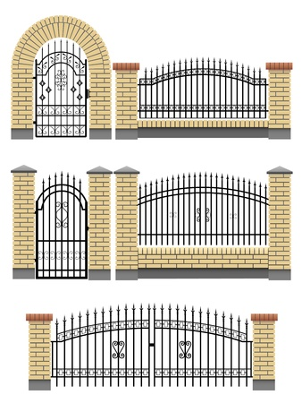 hedges: Vector gate, wicket and fences with yellow brick columns and a metal lattice, isolated on white.