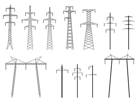 Conjunto de vectores de siluetas de alta tensión torre eléctrica de línea de transmisión, aislado en blanco.
