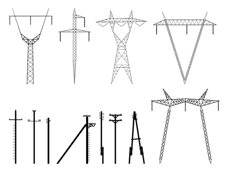volt: Set of vector silhouettes of high voltage electric transmission line tower, isolated on white.