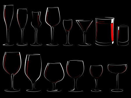 barrels set: Set of simple vector illustration different wineglasses and glasses, filled with wine on a black background (in the dark) with shine and reflections(isolated on black). Illustration