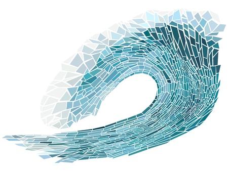 windsurf: Resumen ilustración vectorial de cresta de la ola azul con espuma aislado en blanco (hecho a mano de cristal manchado ventana).