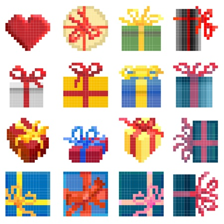 Set of vector simple different pixel presents box(16x16 cells). Stock Vector - 16006765