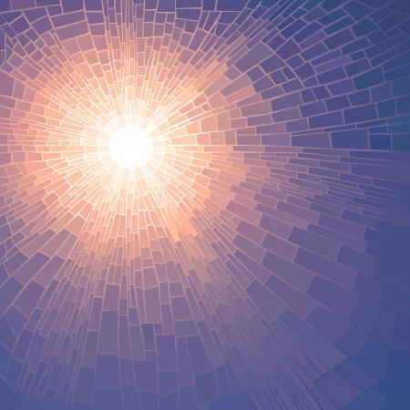 glas kunst: Vector illustratie achtergrond van de zon gloed met stralen in onbewolkte blauwe hemel (glas in lood raam).