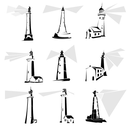 Set of simple vector illustrations: stylized black and white lighthouse icons. Stock Vector - 16006795