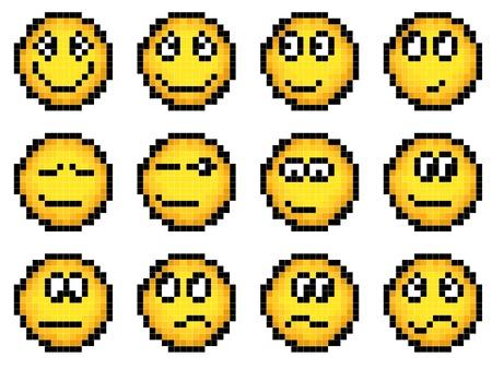 desilusion: Conjunto de vector simple smiley amarillo pixel (gr�fica (16x16 celdas)) (placer, decepci�n, disgusto, sonrisa, aprobaci�n) parte 1. Vectores