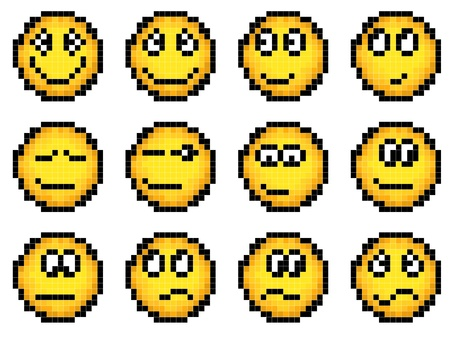 Set of vector simple yellow pixel smiley (computer graphic(16x16 cells))(pleasure, disappointment, chagrin, grin, approval) part 1.