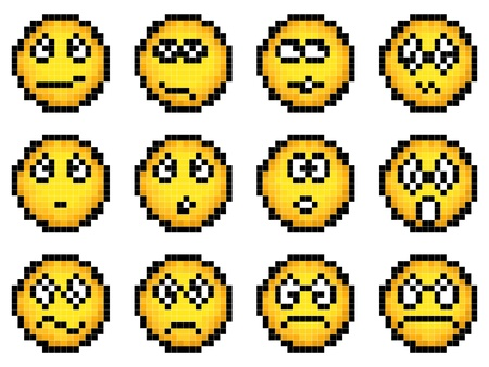 pixel art: Set of vector simple yellow pixel smiley (computer graphic(16x16 cells))(indignation, grief, surprise,discontent, rage, hatred) part 2.