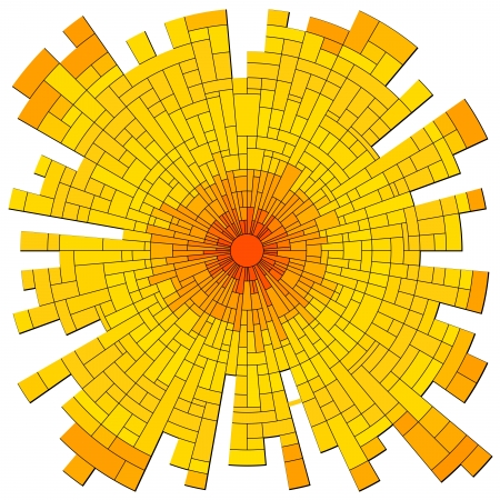 Vector illustration abstract background: mosaic red sun with rays in orange tone. Ilustrace