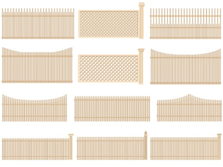 palisade: Set of vector wooden fence with volume and shadows, isolated on white.