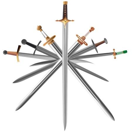 broadsword:  illustrations set of swords cross crosswise isolated on white.