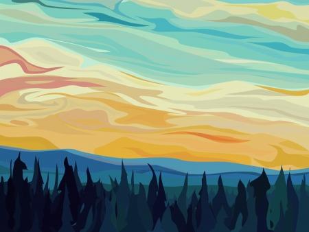 for�t r�sineux: Vecteur de fond illustration abstraite: les nuages ??et les collines de la for�t de conif�res contre le ciel coucher de soleil.