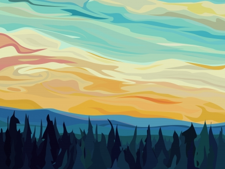 Vector abstract illustration background: clouds and hills of coniferous forest against sunset sky. Stock Vector - 16006802