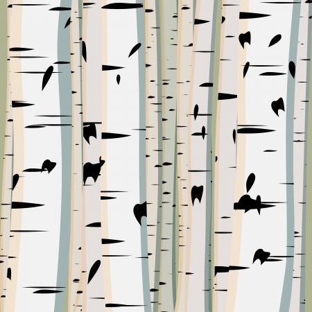 Ilustración vectorial de fondo cuadrado con un montón de troncos de los abedules.