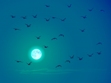 Vector illustration background of flying birds against pale moon in blue, green tone. Stock Vector - 16006806