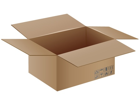 Vector illustration of open cardboard box with transportation symbols on it. Stock Vector - 16006799