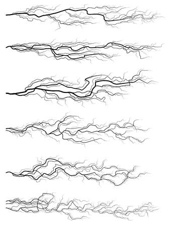 thunderstorm: Set of vector silhouettes of thunderstorm horizontal lightning isolated on white
