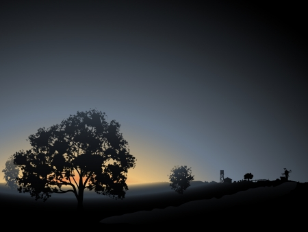 Vector illustration background  lonely tree in the morning mist sunrise with farm on horizont  Ilustrace