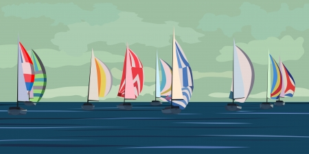 illustration of cartoon sailing regatta with many yachts on horizon in green tone
