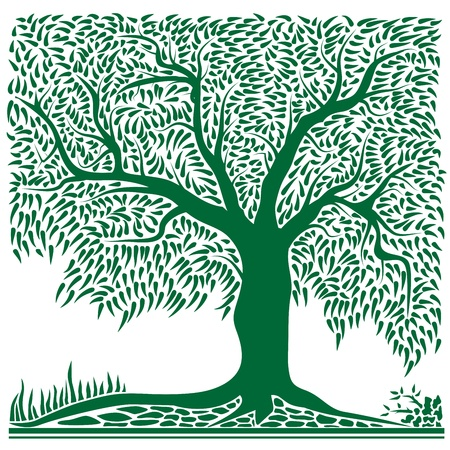 Vector illustration of abstract green tree in square shape vintage style